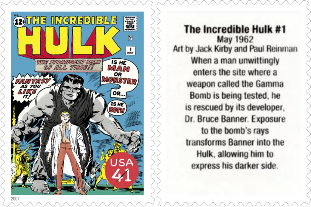 Frimärket med The Incredible Hulk #1 (1962). ©USPS/Marvel