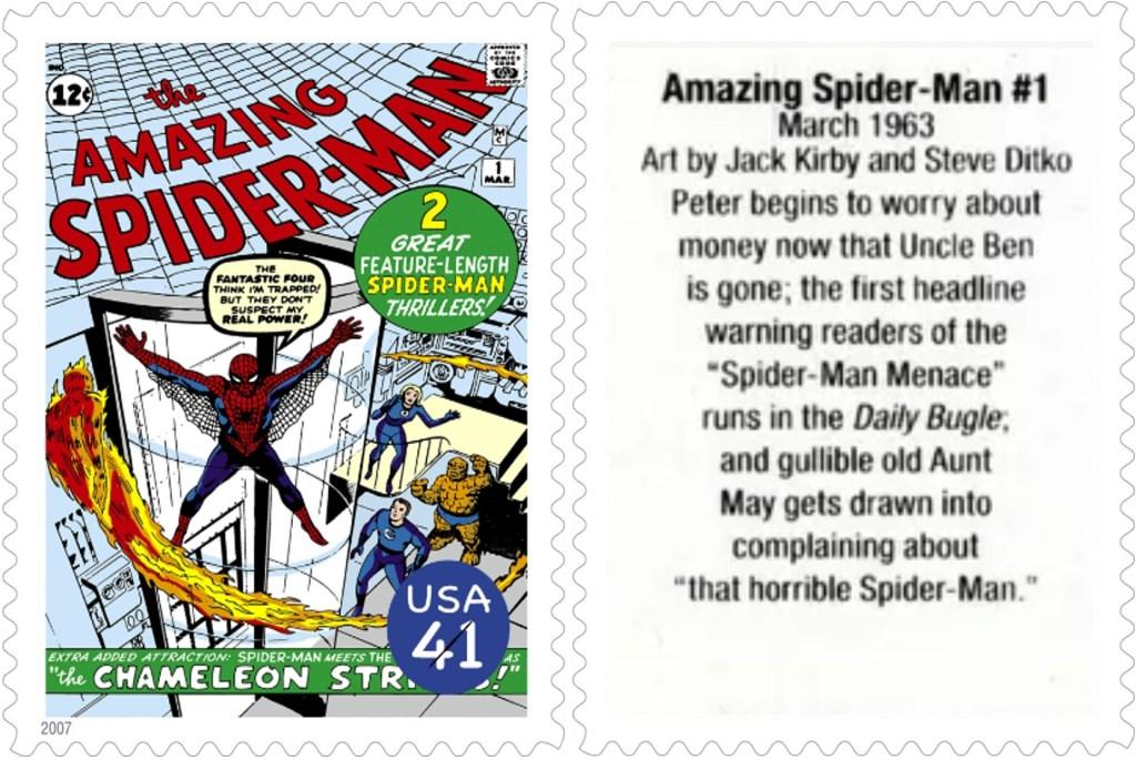 Frimärket med Amazing Spider-Man #1 (1963). ©USPS/Marvel