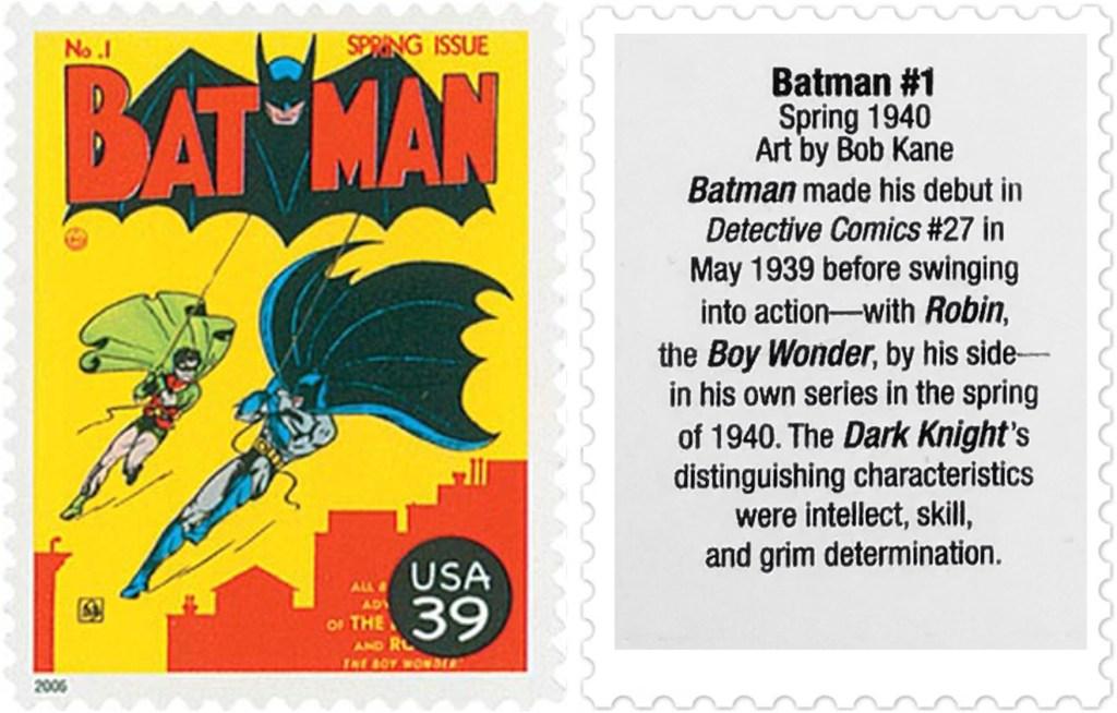 Frimärket med omslaget till Batman #1 (1940). ©USPS/DC