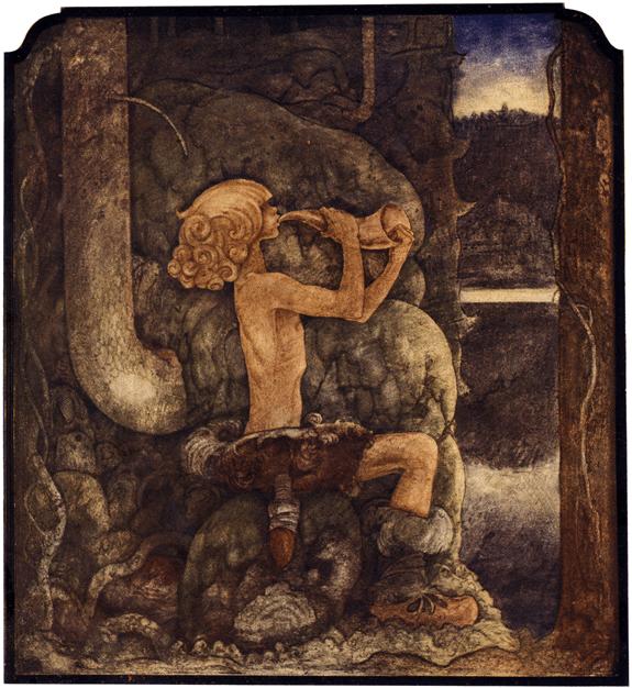 """Illustration till """"Sagan om de fyra Stortrollen och Lille Vill-Vallareman"""" av John Bauer ur """"Bland tomtar och troll"""" (1909)."""