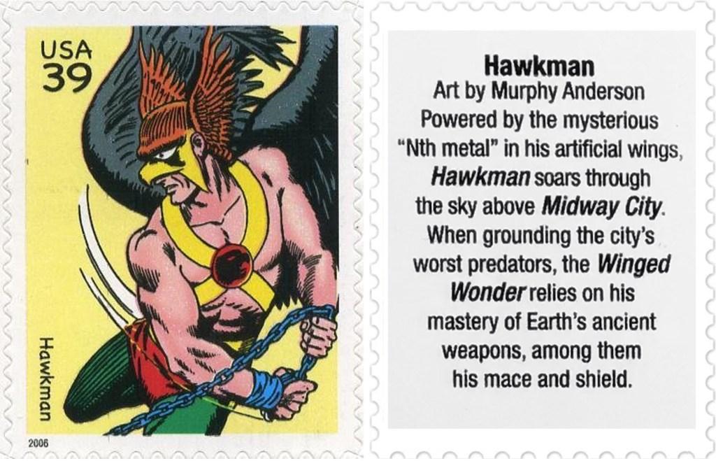 Frimärket med Hawkman (2006). ©USPS/DC