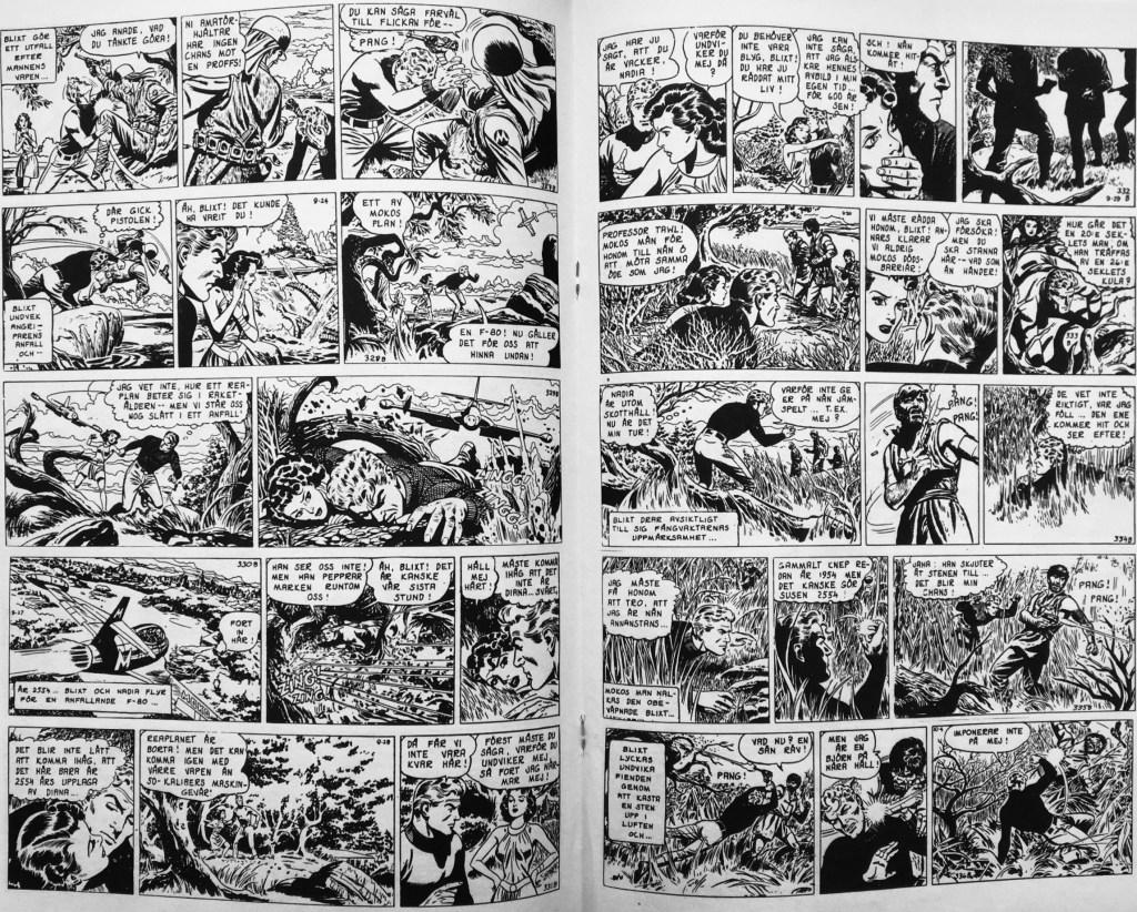 Ett uppslag dagsstrippar av Dan Barry ur Blixt Gordon nr 1, 1962, från Formatic Press