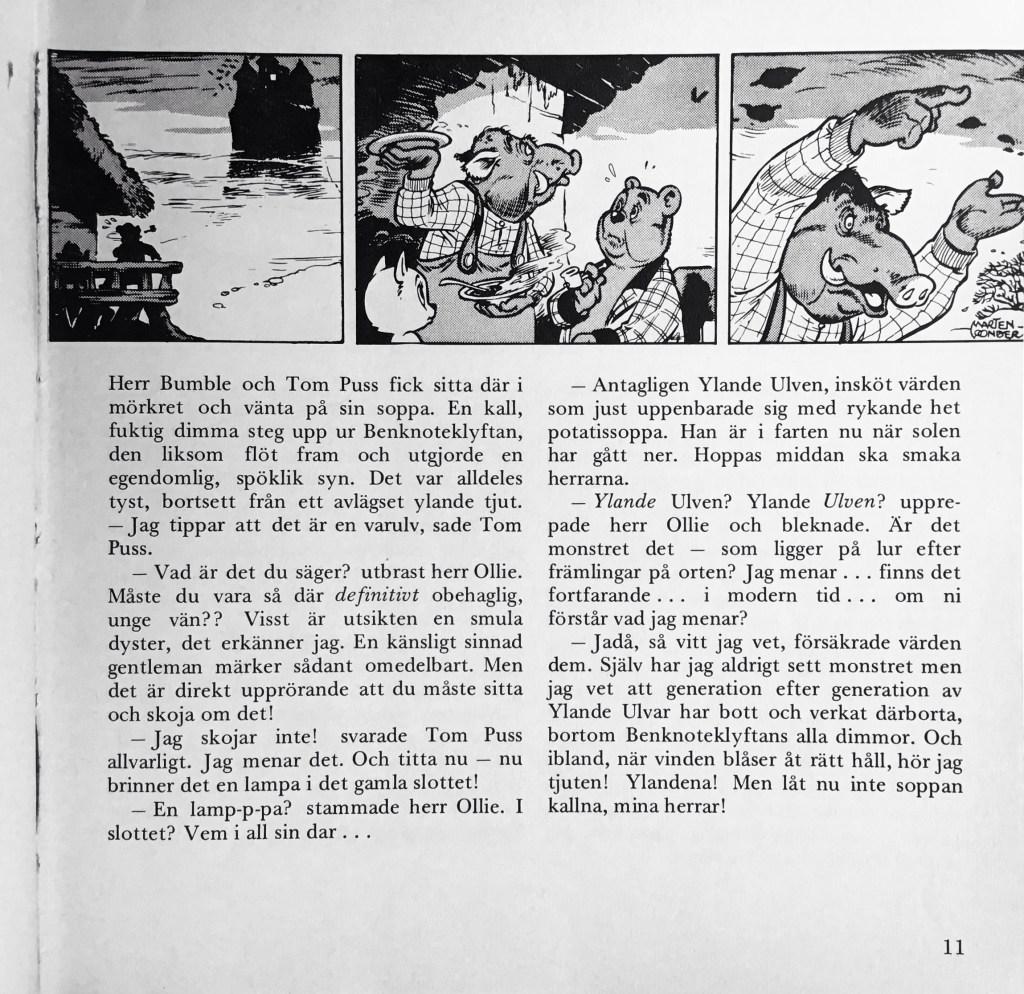Inledande sida (stripp #4741) med episoden Den ylande ulven ur Tom Puss äventyr 1. ©Toonder