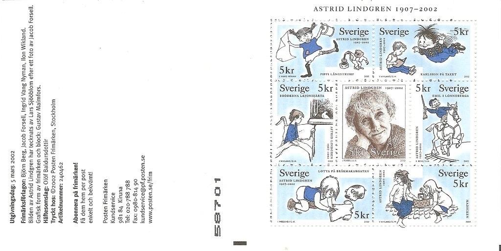 Frimärkshäftet Astrid Lindgren 1907-2002. ©PostNord