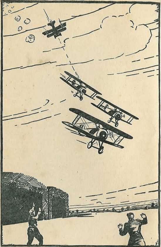 Illustration till den första Biggles-novellen The White Focker tecknad av W.E. Johns. Novellen var först publicerad i Popular Flying Magazine (april 1932).
