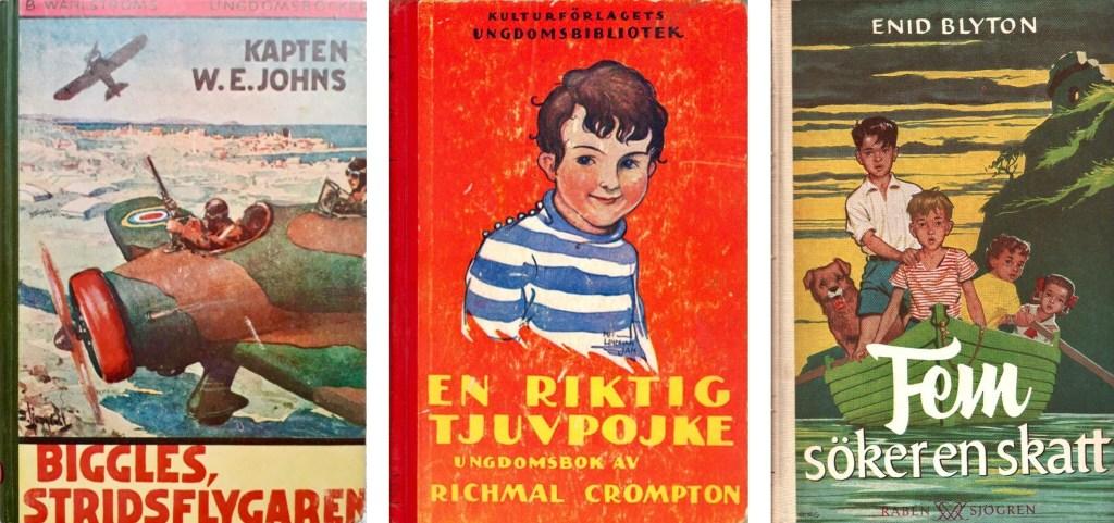 Biggles stridsflygaren (1940), En riktig tjuvpojke (4:e uppl. 1930), om Bill, och Fem söker en skatt (3. uppl. 1955).