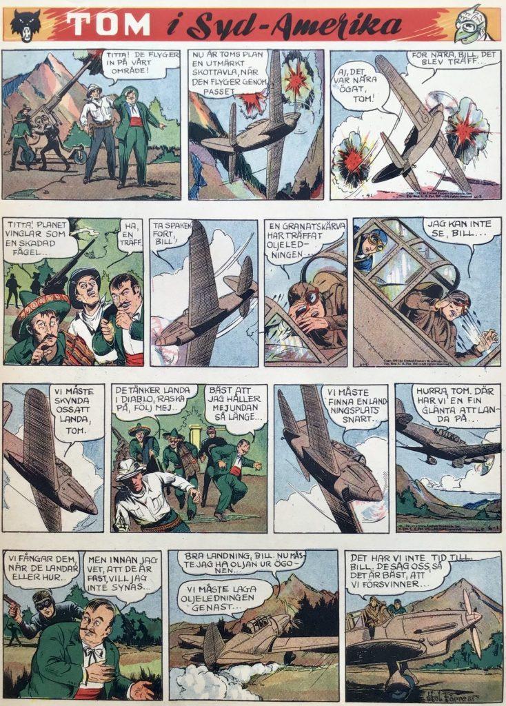 En sida med Tom i Syd-Amerika ur Veckans serier nr 12, 1942. ©United Feature