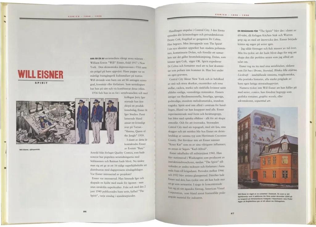Ett uppslag ur Comics – Serierna 100 år. ©Hegerfors/Åberg/KFS