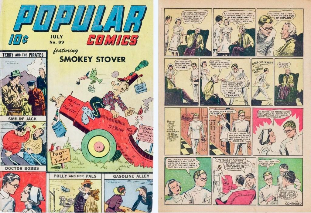 Omslag till Popular Comics #89 (1943) och en sida med Dr Bobbs, med återtryck av dagsstrippar från 16-19 juli 1941. ©Dell/KFS