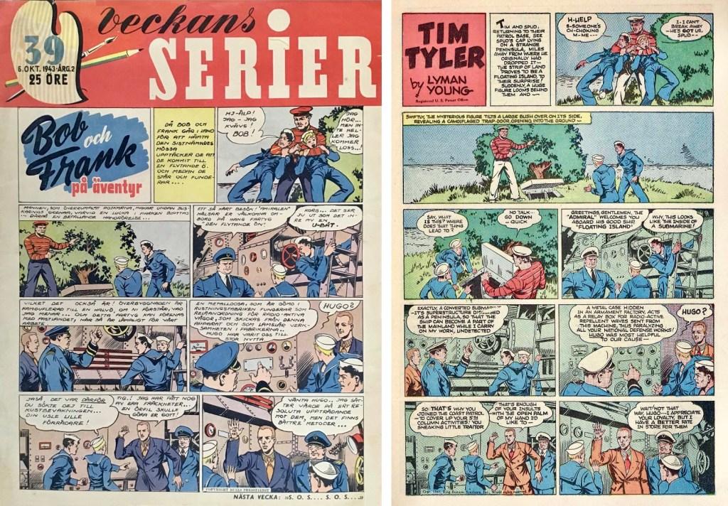 Bob och Frank i Veckans serier nr 39, 1943 och motsvarande söndagssida från 8 juni 1941. ©KFS