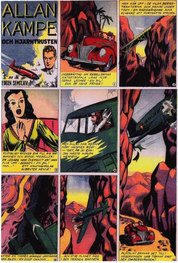 Veckoserien med Allan Kämpe i Veckans Serier nr 40, 1943, avsnitt B-19. ©Bulls