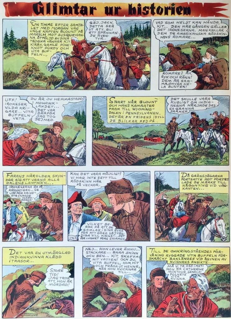 Glimtar ur historien med Kit Bockskinn, från Veckans serier nr 13, 1942, med dagsstrippar från 4-6 maj 1939. ©Bulls