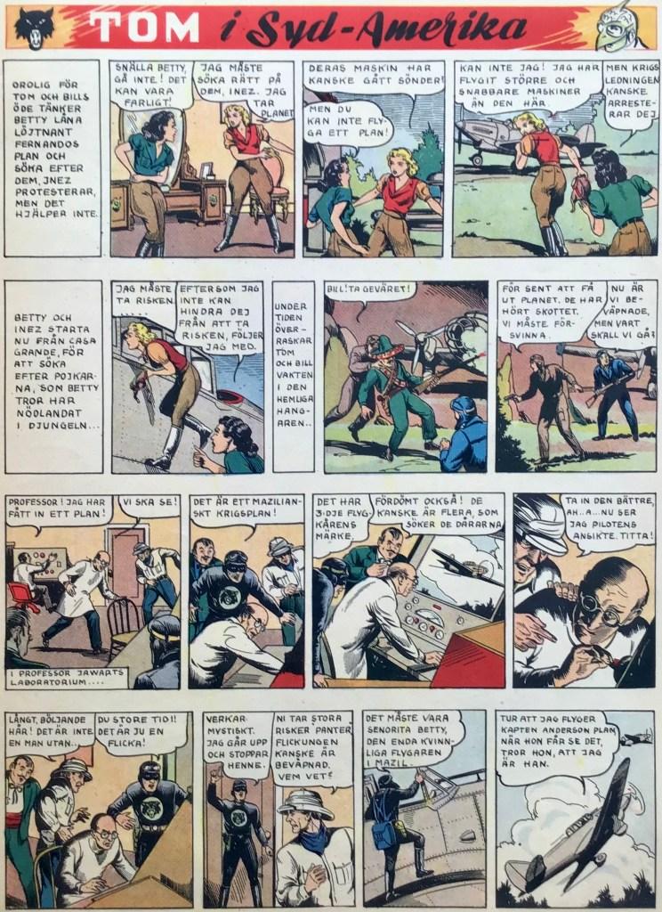 En sida med Tom i Syd-Amerika ur Veckans serier nr 1, 1943. ©United Feature