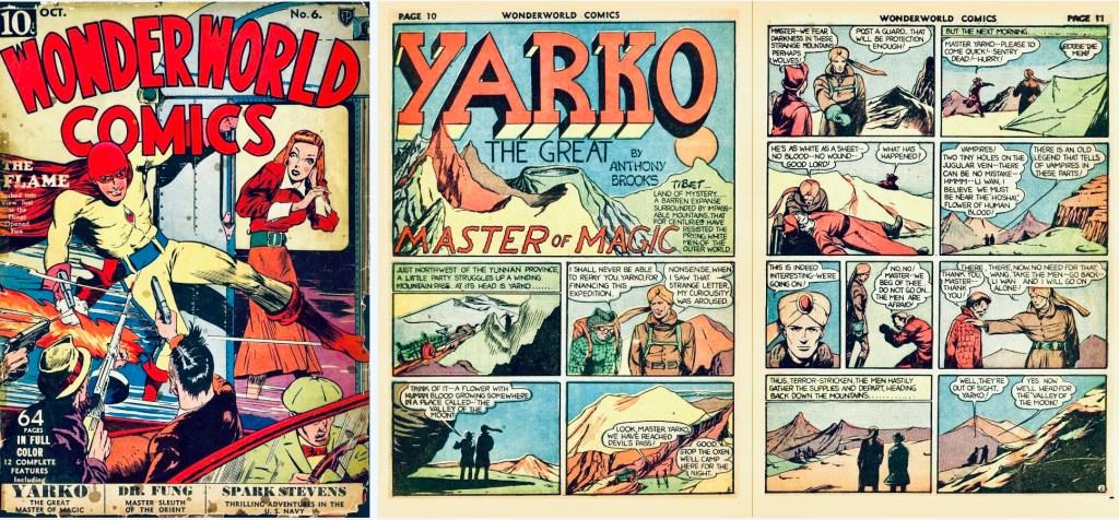 Omslag till Wonderworld Comics #6 (1939) och inledande uppslag med Yarko som var en del av innehållet. ©Fox