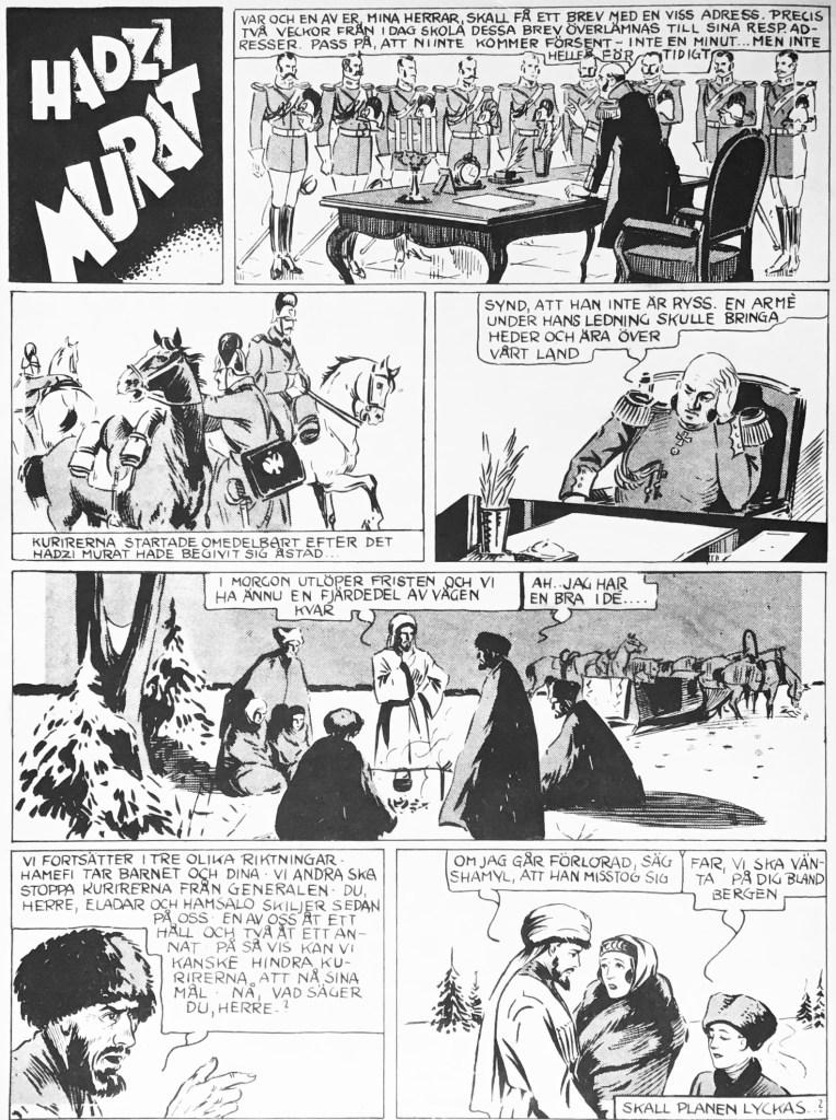 En sida med Hadzi Murat ur Veckans serier nr 9, 1942.