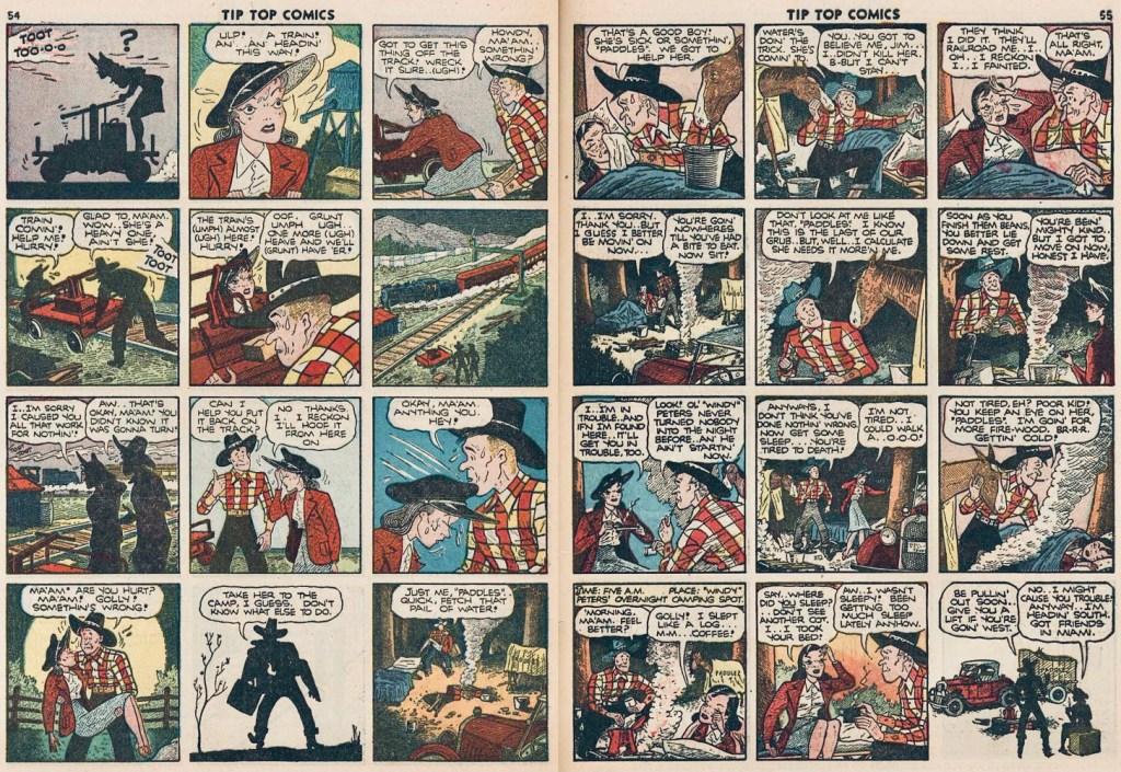 Ett uppslag med Jim Hardy ur Tip Top Comics #77 (1942) med första förekomsten av Windy och Paddles. ©United Feature