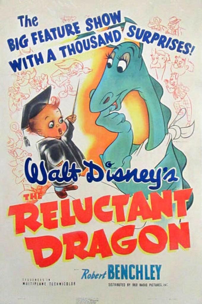 Filmaffisch till den animerade långfilmen The Reluctant Dragon (1941). ©Disney
