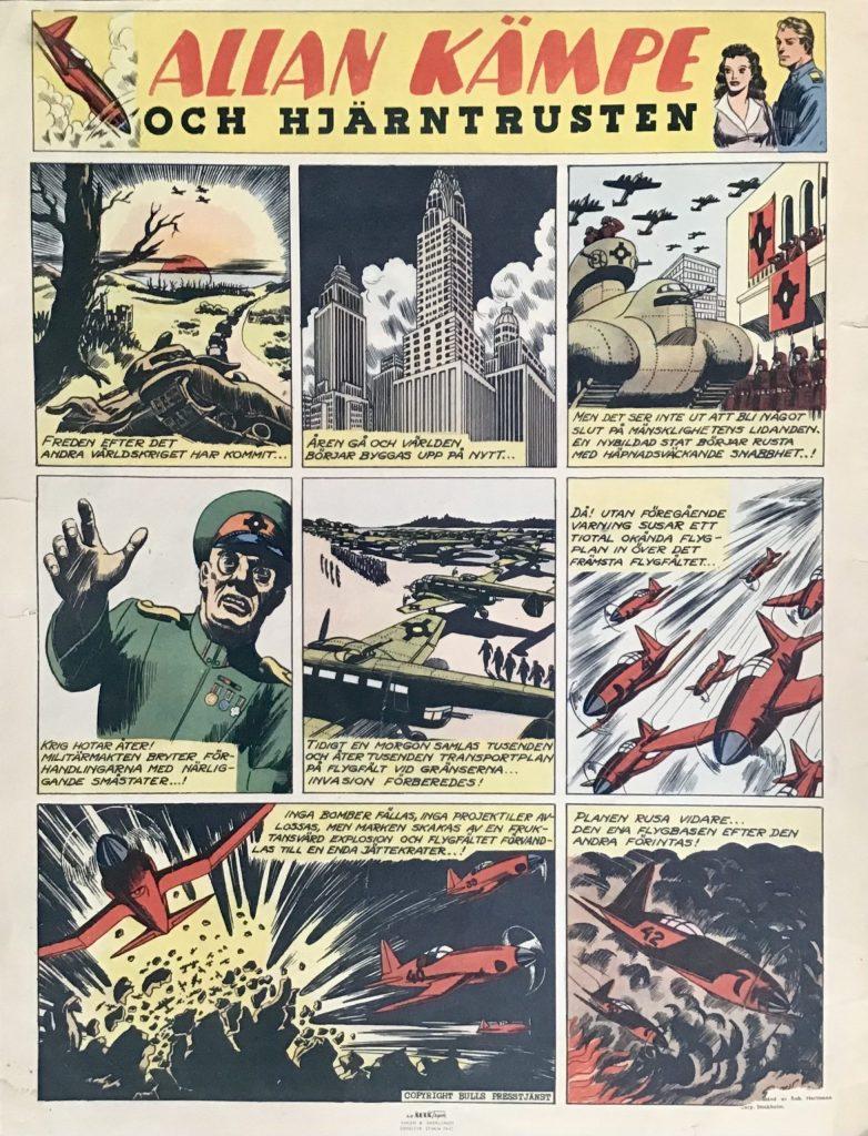 Första sidan i Allan Kämpe och Hjärntrusten, på baksidan av Veckans serier nr 22, 1943. ©Bulls