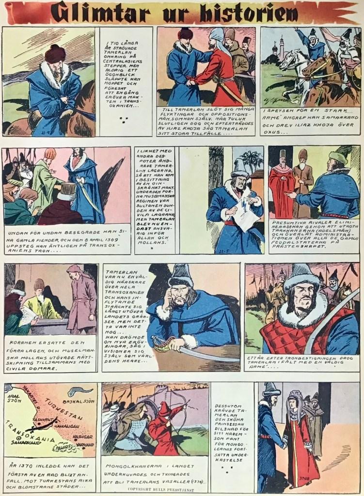 En sida Glimtar ur historien med Tamerlan, från Veckans serier nr 9, 1942. ©Bulls