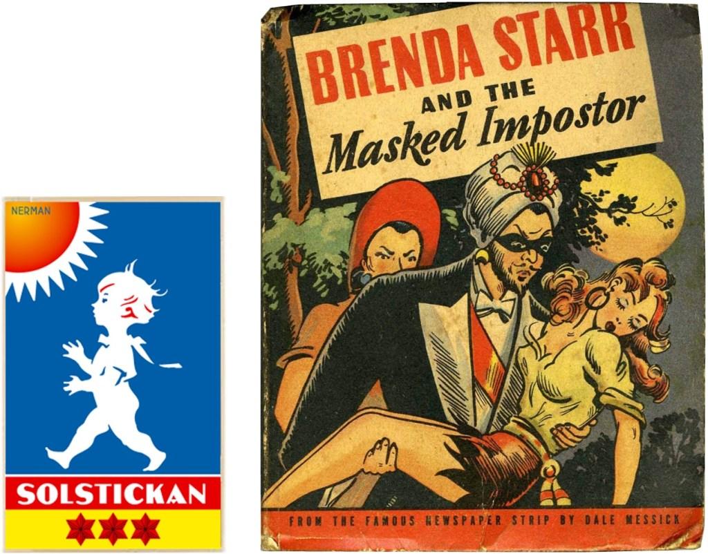Omslag till Brenda Starr and the Masked Imposter (1943). ©Whitman