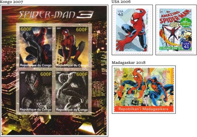 Några av de frimärken med Spiderman som är med i sammanställningen. ©Harnby/DC