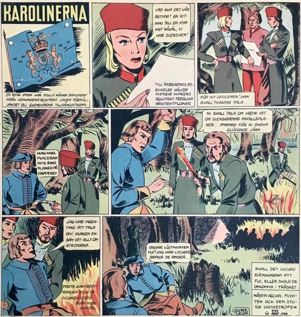 En sida med Karolinerna ur Veckans serier nr 11, 1943. ©Alga