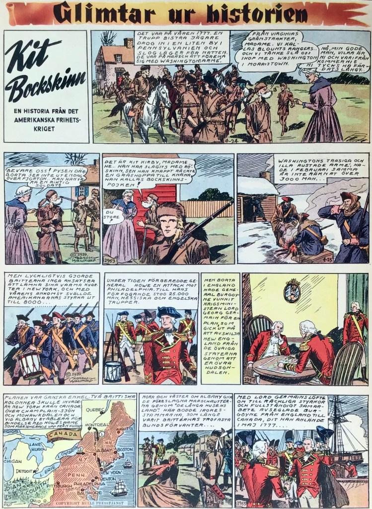 En sida Glimtar ur historien med Kit Bockskinn, från Veckans serier nr 10, 1942, från 24-27 april 1939. ©Bulls