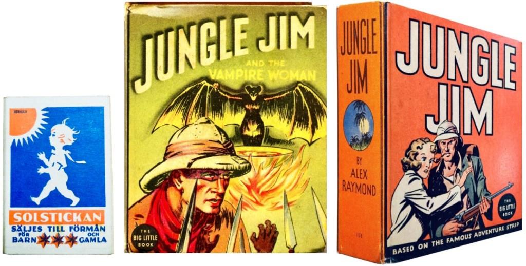 Omslag till Jungle Jim and the Vampire Woman (1937) och Jungle Jim (1936). ©Whitman