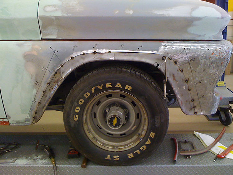 62 Chevy Truck - wheel well fabrication