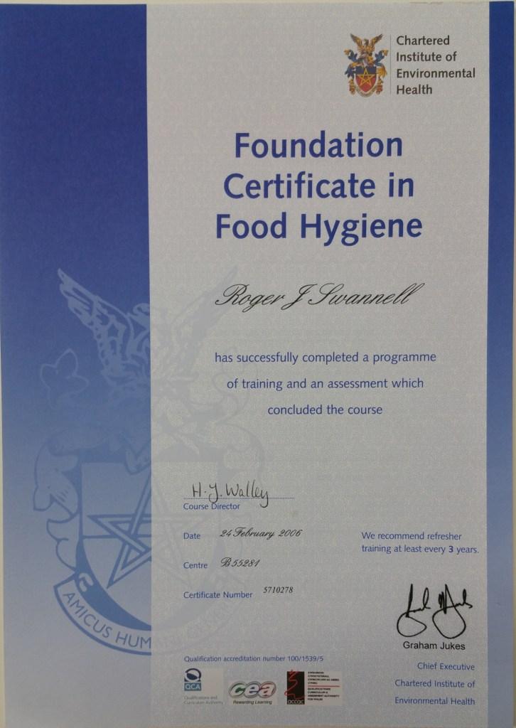 Foundation Certificate in Food Hygiene