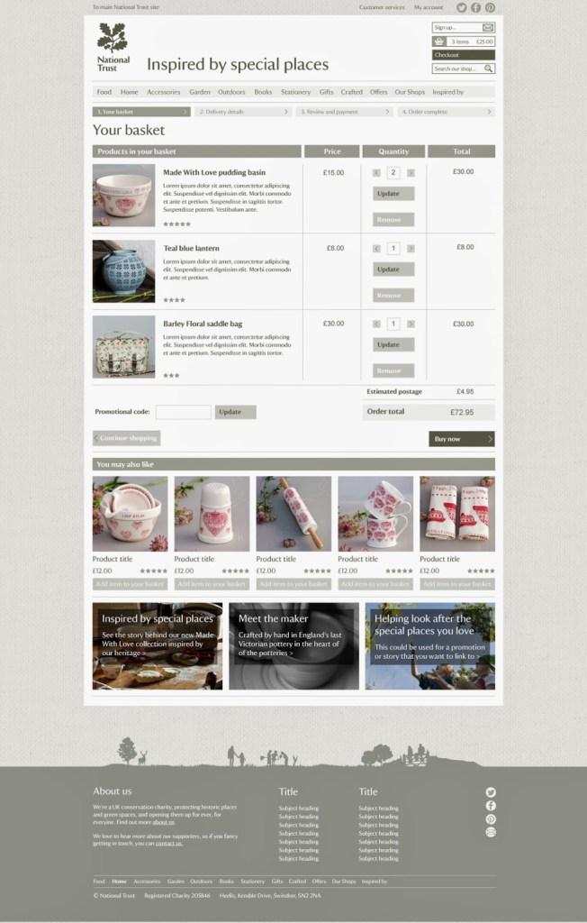 National Trust Online Shop Basket Page Prototype
