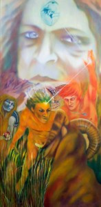 Prometheus and the Wrath of god. My painting looks at the mythological dynamic from two perspectives.  It is illustrating the phenomena of enlightenment being shared prior to the punishment being executed. From the Greek perspective it is the agent of enlightenment to man, Prometheus,who is the one suffering the wrath of the Gods. In the Jewish/Christian philosophy it is the receiver of enlightenment, Eve, who suffers the wrath of God.
