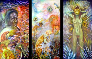 Williamson art. Three Levels of Fall. Left Panel Fall: Paradise is for those who do what they are told Reaching for the serpent of wisdom and knowledge the seeker awakens the suppressed aspects of the self. The awakened individual becomes alert to all the previously suppressed personalities and potentials. We wake up through escaping from the prison of religion and societies values. At the bottom left is our deepest sense of being. It is awakening from sleep symbolized by the figure's necklace that is Kephera, the Ancient Egyptian Sun at Night, that forces the Sun to rise at dawn. On the bottom right of the work we can see the sleeper is guarded by the Goat of Mendes. Center Panel ANESIDORA Anesidora, she who sends up gifts, is a title of the Greek Pandora. It is she who releases man's opportunities, the challenges we need to overcome, from the vase given to her by the Gods. Right Panel She Enters Her Dream And Takes Back Her Mask Of Power What we need we find within.