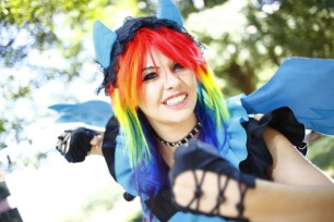 Cosplayer Maka Lee, one of twenty-four artists to be include in an upcoming project by photographer Chase Lawrence, portrays Rainbow Dash from Hasbro's My Little Pony.