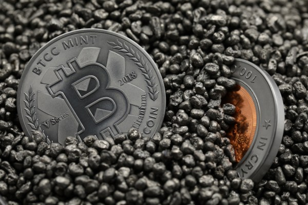 2018 Physical bitcoins in casting gravel.