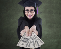 graduate in gown and cap holding a bunch of money