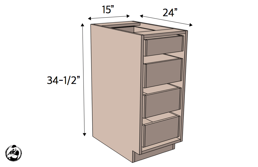 15in 4Drawer Base Cabinet Carcass Frameless  Rogue