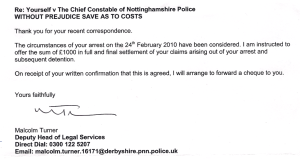 03 JUNE 2013: THE DERISORY OFFFER OF SETTLEMENT FOR THE FIRST OF THE INSTANCES OF TRESPASS WITH CONVERSION BY NOTTS POLICE. [SECTION]