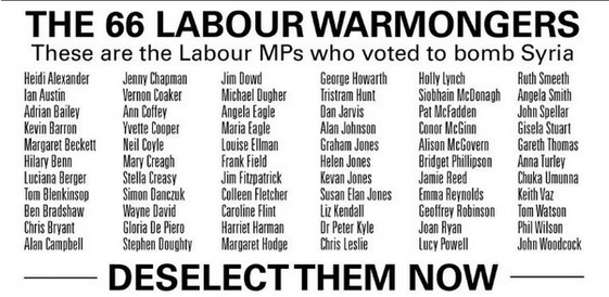 LABOUR WAR MONGERS WHO 'VOTED' TO BOMB SYRIAN PEOPLE.