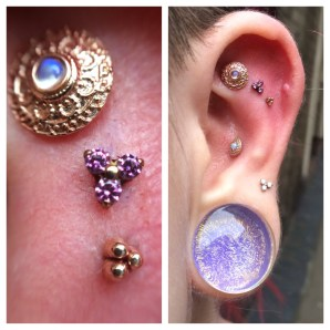Custom Orders - Ear Project Featuring Rose gold, Rainbow Moonstone, Anodised Titanium and Swarovski