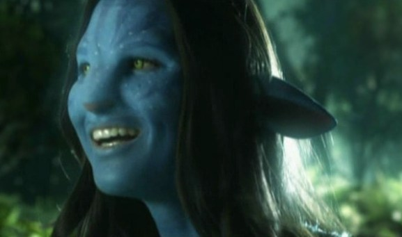 Olivia Munn was a great sport during the four hour full-body Avatar transformation.
