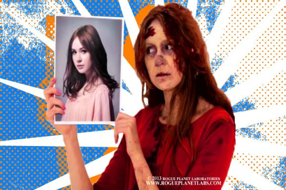 Karen Gillan took a break from Doctor Who to let us slap this Out-Of-Kit zombie on her for an episode of The Nerdist. Just a little Kryolan Aquacolor and Rogue Planet Laboratories 3D transfers.