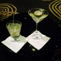 Enjoying cocktails during one of our many trips on board Norwegian Cruise lines.