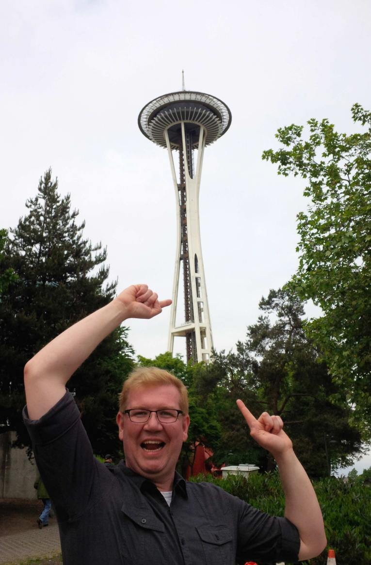 Nick is really excited to see the space needle, an iconic structure on the landscape of the city.
