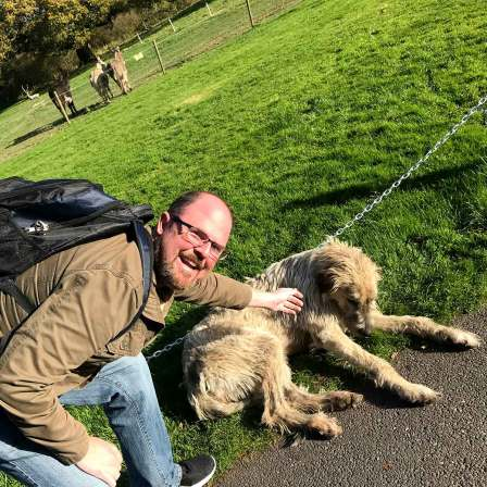 Jason & Stacy loved playing with Mr Higgins, one of the Irish wolfhound dogs that live at Ballyseede Castle.