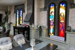 Beautiful stained glass on display in Ballyseede Castle.