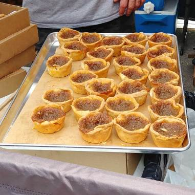 delicious tray of tarts at Butter Tart Festival in Midland.