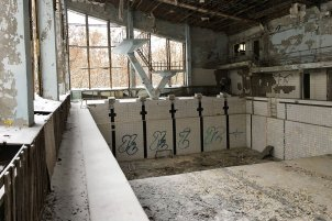 Swimming pool at the Exclusion Zone of Chernobyl and Pripyat