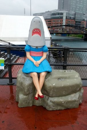 Roadside attraction SharkGirl in Buffalo's CanalSide district