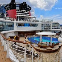 Pool and sun deck on the Disney Wonder Cruise Ship is a great place for roguetrippers to relax